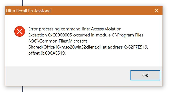 Access violation when copying Outlook 2016 messages to UR